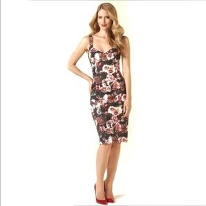 Bustier Floral Fitted Bodycon Cocktail Dress Roses